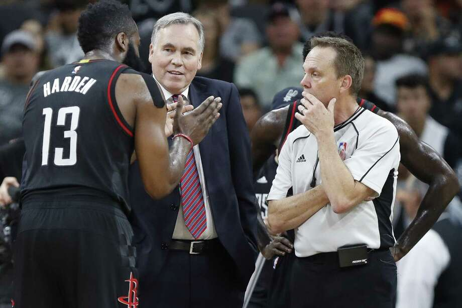 Houston Rockets coach Mike D'Antoni and guard James Harden talk to a referee during the second half of Game 2 against the Spurs at the AT&T Center on May 3, 2017, in San Antonio. Photo: Karen Warren /Houston Chronicle / 2017 Houston Chronicle