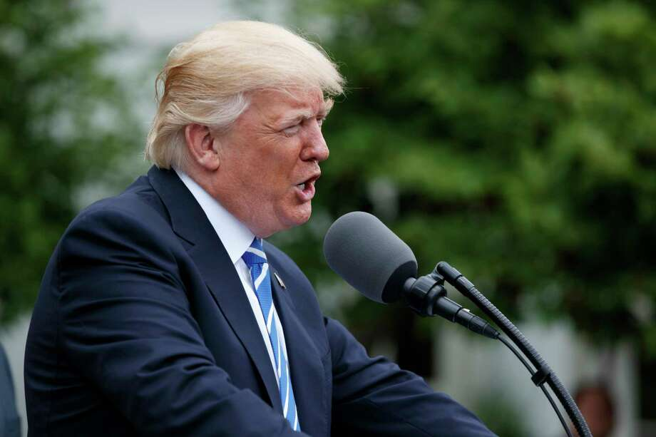 President Donald Trump speaks in the Kennedy Garden of the White House in Washington, Monday, May 1, 2017, to the Independent Community Bankers Association. (AP Photo/Evan Vucci) Photo: Evan Vucci, STF / Copyright 2017 The Associated Press. All rights reserved.