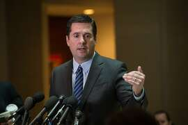 (FILES) This file photo taken on March 24, 2017 shows US Representative from California Devin Nunes, chairman of the House Intelligence Committee,as he speaks to the press about the investigation of Russian meddling in the 2016 presidential election on Capitol Hill in Washington, DC. The Republican leader of the House investigation into Russian interference in the US election announced on April 6, 2017 he was stepping aside after being criticized for being too close to President Donald Trump. Devin Nunes, the chairman of the House Intelligence Commitee, had come under fire for briefing Trump on information he had received while keeping members of his own committee in the dark.  / AFP PHOTO / NICHOLAS KAMMNICHOLAS KAMM/AFP/Getty Images