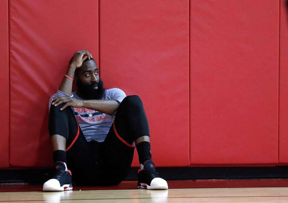 Houston Rockets guard James Harden sits on the sidelines during the Rockets shoot around at the Toyota Center, Thursday, May 4, 2017, in Houston. ( Karen Warren / Houston Chronicle ) Photo: Karen Warren, Staff Photographer / 2017 Houston Chronicle