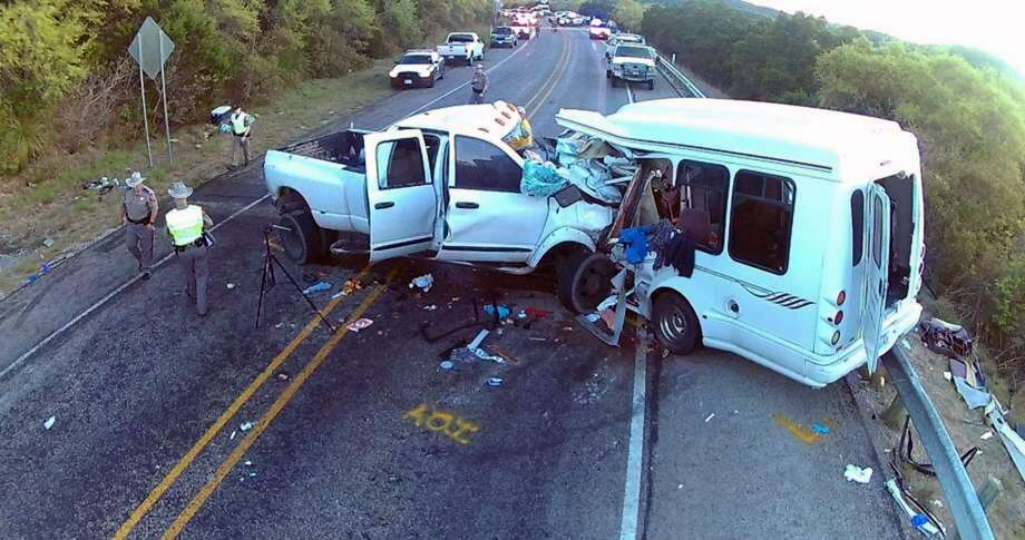 A National Transportation Safety Board photo shows the aftermath of a March 29, 2017 collision in Uvalde County that killed 13 people and injured two others. Photo: NTSB, NTSB