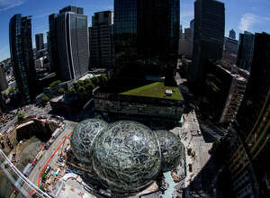 """Amazon's biospheres, """"The Spheres"""" near completion in downtown Seattle, on Thursday, May 4, 2017."""