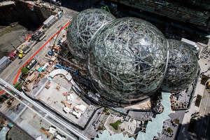 "Amazon's biospheres, ""The Spheres"" near completion in downtown Seattle, on Thursday, May 4, 2017."