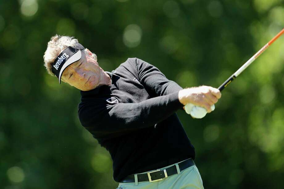 Bernhard Langer hits a tee shot on the seventh hole during the Woodforest National Bank Championship Pro-Am before the Insperity Invitational Golf Tournament at the Woodlands Country Club Tournament Course on Thursday, May 4, 2017, in The Woodlands, TX. Photo: Tim Warner, Freelance / Houston Chronicle