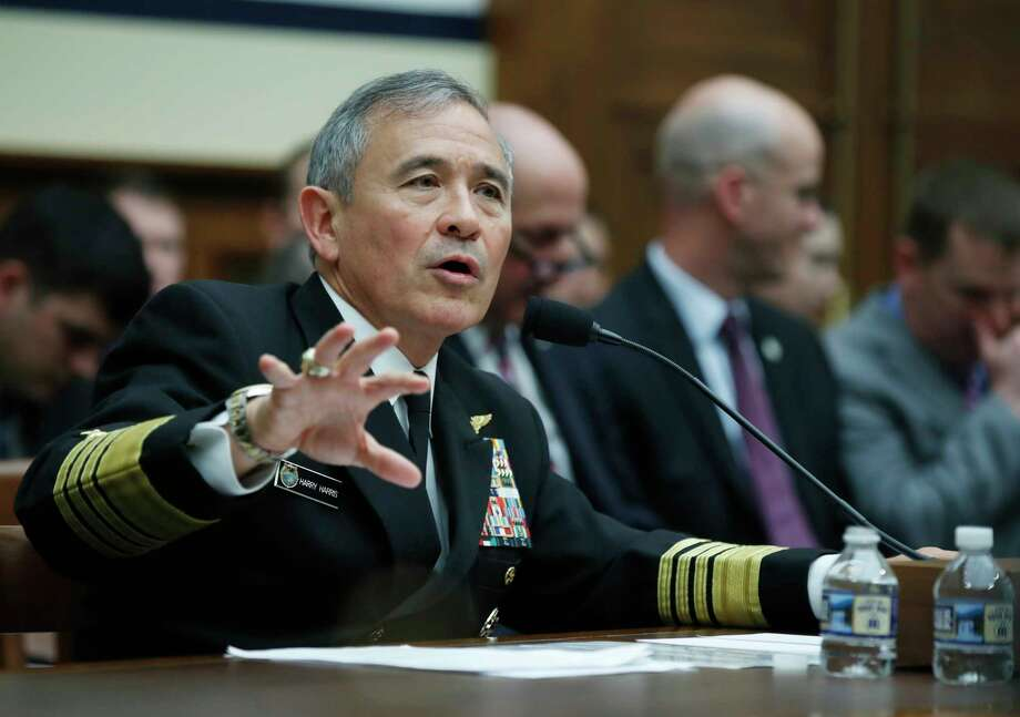 In this photo taken April 26, 2017, U.S. Pacific Command Commander Adm. Harry Harris Jr. testifies on Capitol in Washington. Determined to exert greater economic pressure on North Korea, the GOP-led House is expected to vote overwhelmingly to slap Pyongyang with new sanctions that target the wayward nation's shipping industry and use of slave labor.  (AP Photo/Manuel Balce Ceneta) Photo: Manuel Balce Ceneta, STF / Copyright 2017 The Associated Press. All rights reserved.