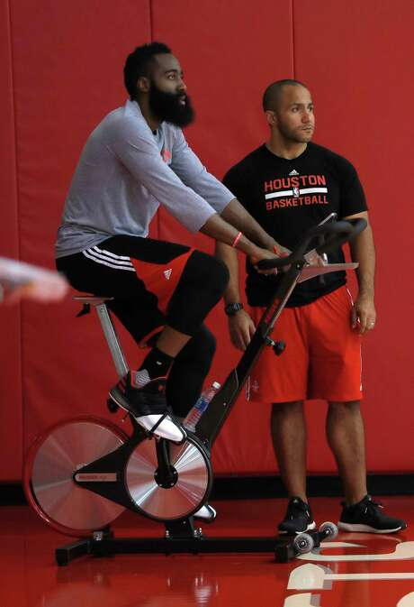 Point guard James Harden goes for a spin during the Rockets' shootaround Thursday at Toyota Center, site of the next two games against the Spurs. Photo: Karen Warren, Staff Photographer / 2017 Houston Chronicle