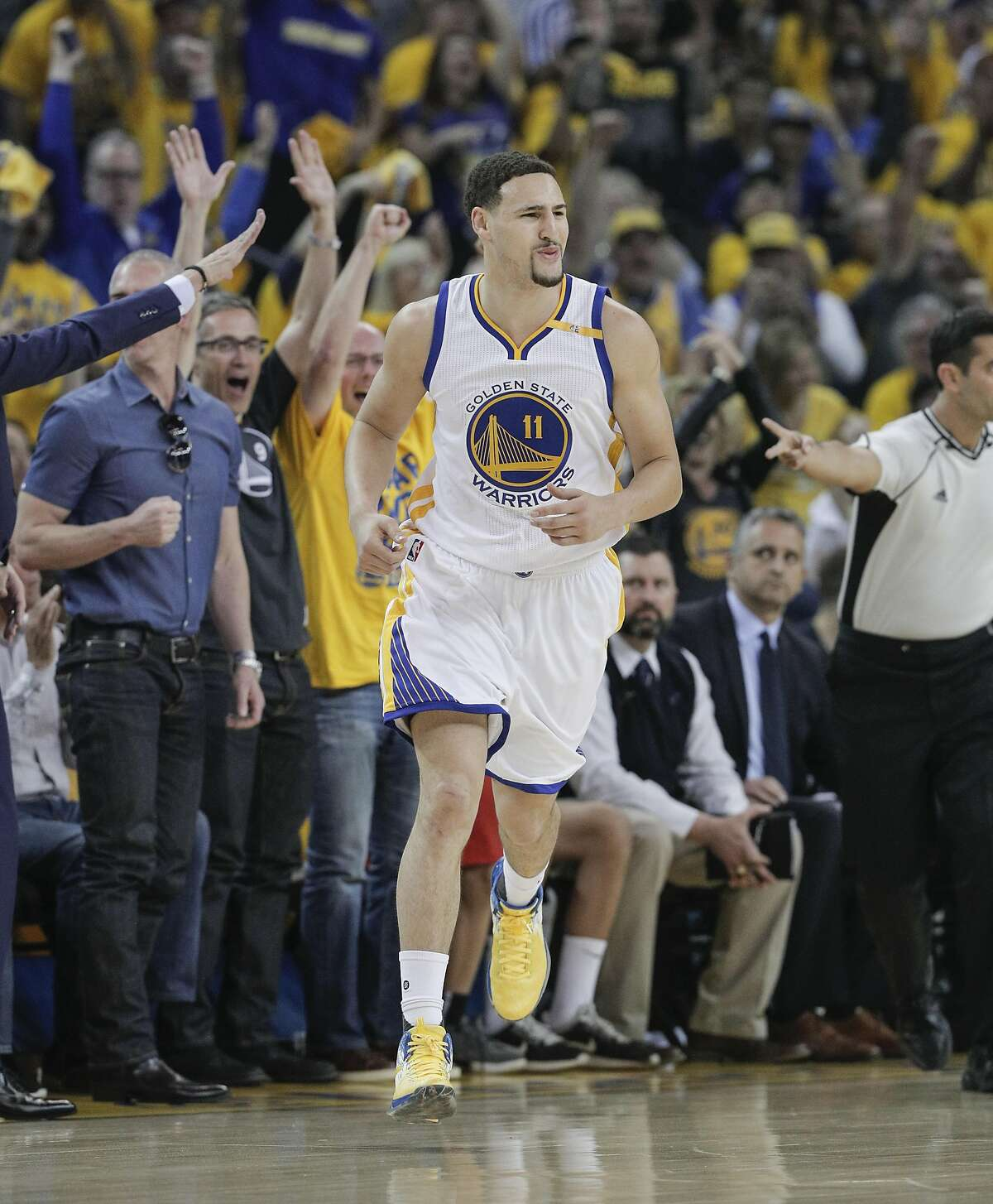 Golden State Warriors' Klay Thompson reacts after hitting a three-point shot in the first quarter during Game 2 of the Western Conference Semifinals 2017 NBA Playoffs at Oracle Arena on Thursday, May 4, 2017 in Oakland, Calif.