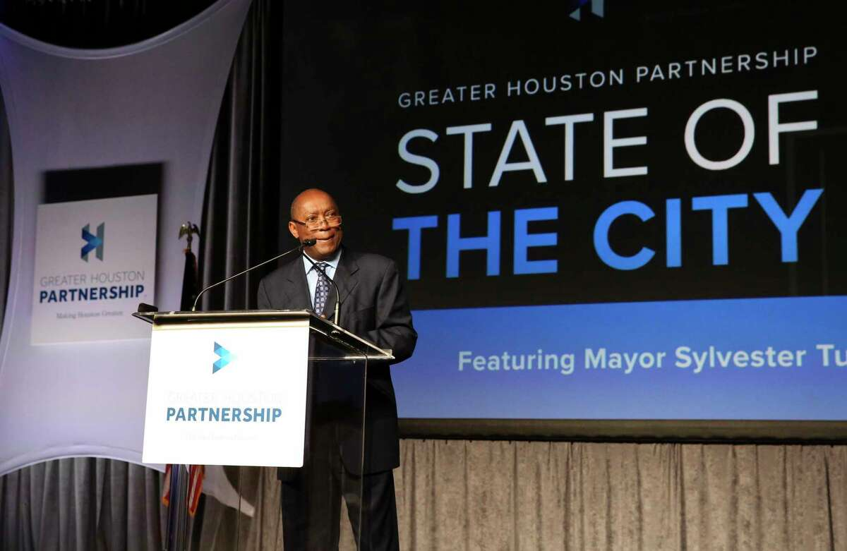 Houston Mayor Sylvester Turner delivers his annual State of the City address at Marriott Marquis Hotel Thursday. ( Photo by Yi-Chin Lee / Houston Chronicle )