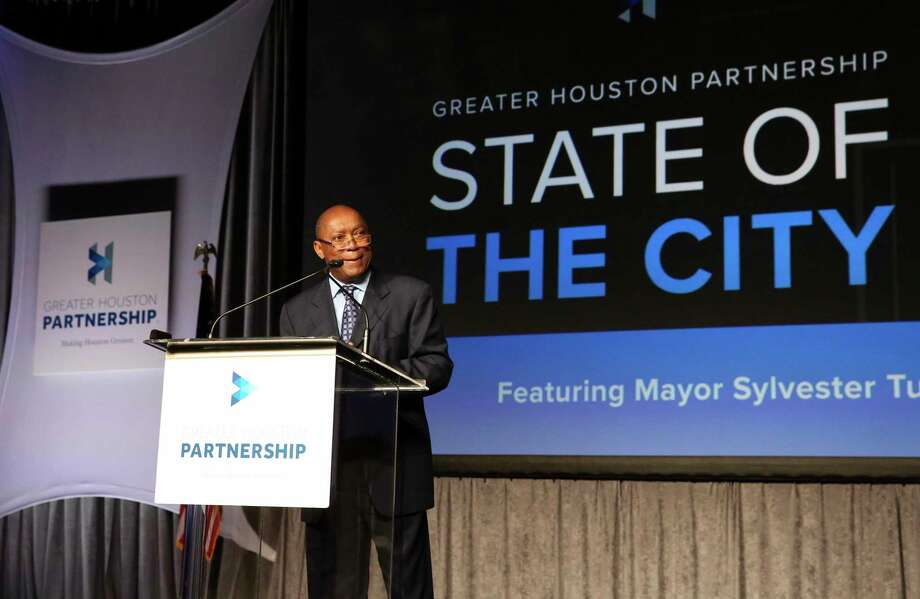 Houston Mayor Sylvester Turner delivers his annual State of the City address at Marriott Marquis Hotel Thursday. ( Photo by Yi-Chin Lee / Houston Chronicle ) Photo: Yi-Chin Lee, Staff / © 2017  Houston Chronicle