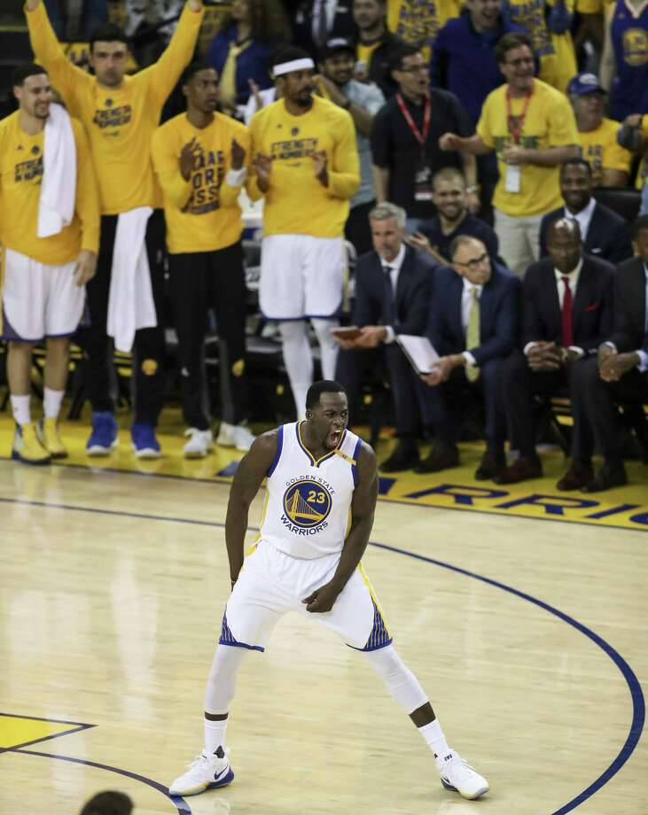 Golden State Warriors' Draymond Green reacts after hitting a three-pointer in the first quarter during Game 2 of the Western Conference Semifinals 2017 NBA Playoffs at Oracle Arena on Thursday, May 4, 2017 in Oakland, Calif. Photo: Scott Strazzante / The Chronicle / online_yes