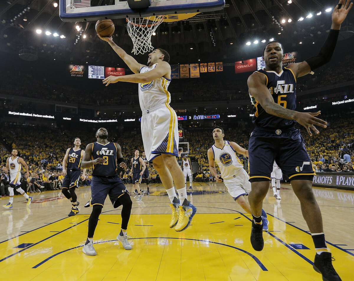 Golden State Warriors' Klay Thompson shoots a reverse layup during Game 2 of the Western Conference Semifinals 2017 NBA Playoffs at Oracle Arena on Thursday, May 4, 2017 in Oakland, Calif.