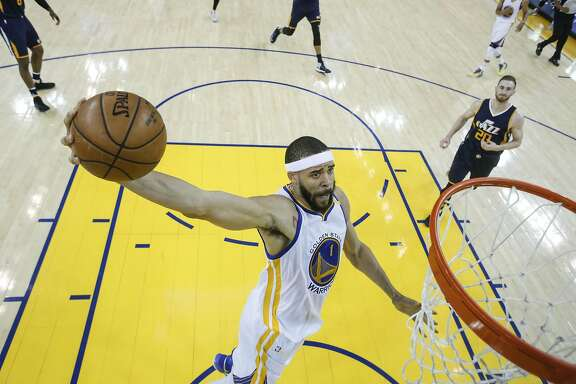 Golden State Warriors' JaVale McGee goes up for a dunk during Game 2 of the Western Conference Semifinals 2017 NBA Playoffs at Oracle Arena on Thursday, May 4, 2017 in Oakland, Calif.