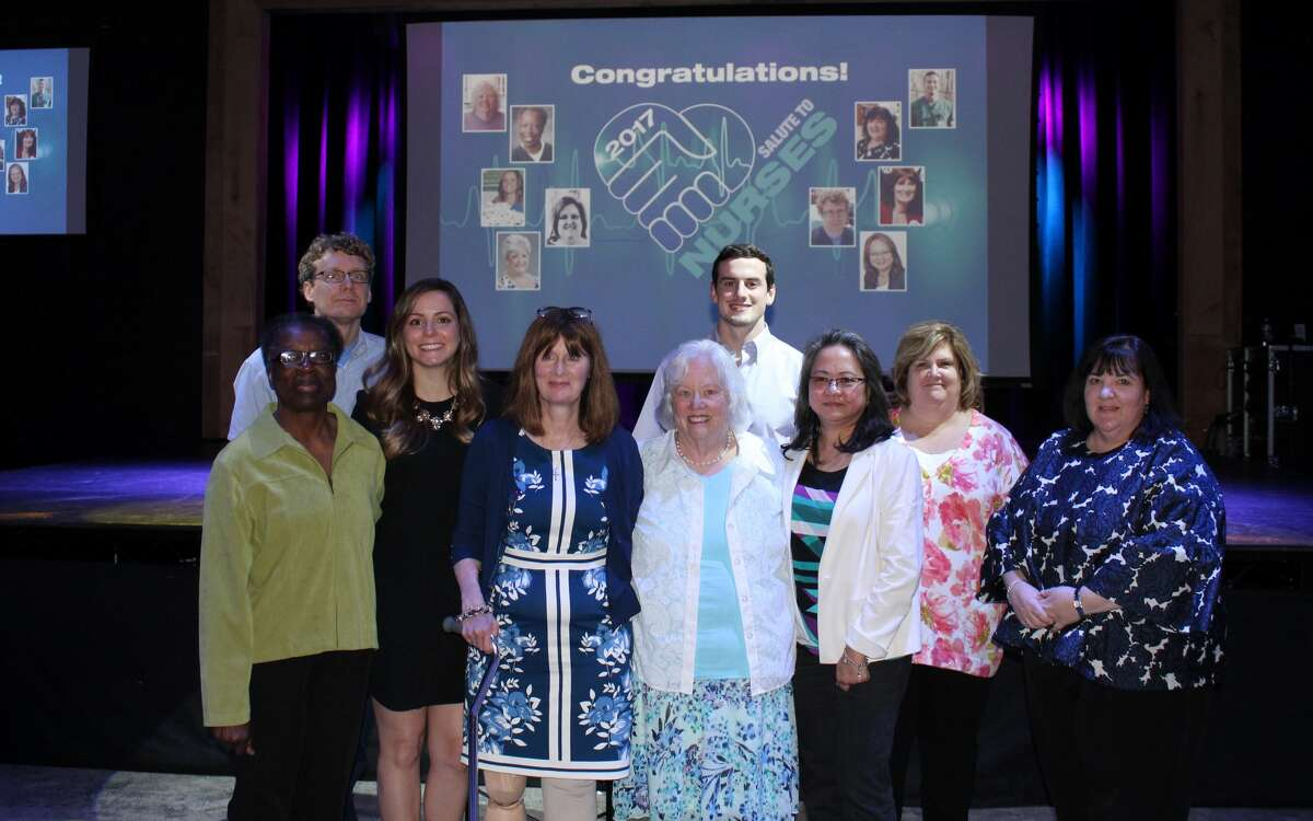 The Hearst Connecticut Media Group honored 10 local nurses on Wednesday, May 3, 2017 as part of its annual Salute To Nurses initiative. The recipients of the 2017 Salute To Nurses, from left to right are: Elizabeth Brice, Patrick Murray, Winter DeFeo, Janie Mezzatesta, Judy Ahern, Jeffrey Johnston, Gloria Nogueras, Eileen Dolenk and Kathy LiVolsi. Susan Goncalves was unable to attend as she'd recently left for a medical mission abroad.