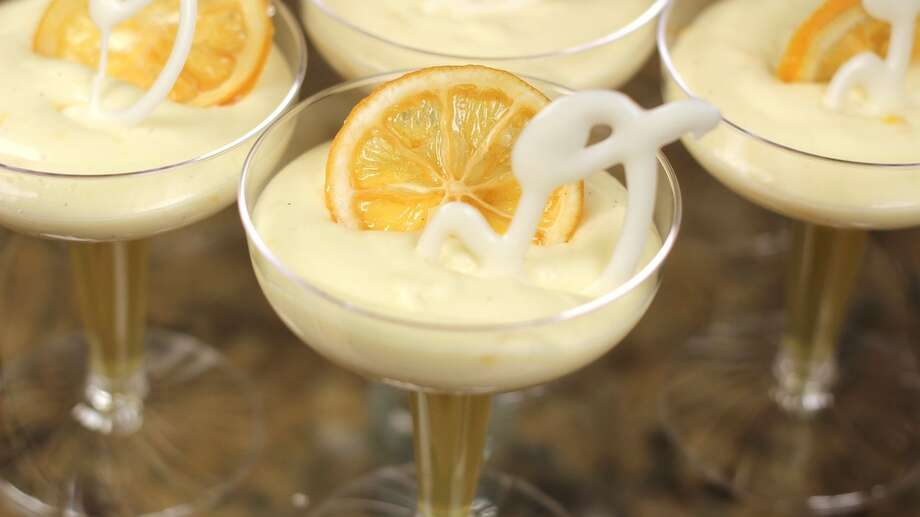 A decadent White Chocolate Limoncello Mousse from Chef Drew Rogers and his award-winning bakery, Drew's Pastry Place.