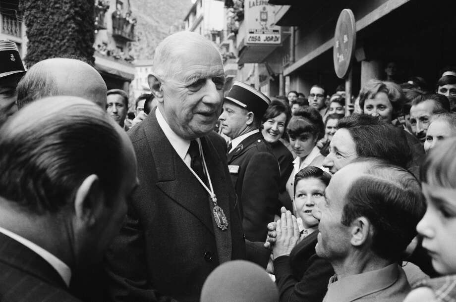 A patriot, not a nationalist, de Gaulle believed that while  patriotism thrives on the love of one's country, nationalism festers on  the hatred for another's country. In this photo: The French leader visits Andorra in 1967. Photo: Reg Lancaster / Stringer