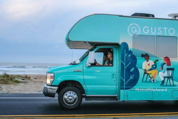 Gusto CEO Josh Reeves drives along the Atlantic coast in Ponte Vedra Beach, Fla., Thursday, May 4, 2017 -- Gary Lloyd McCullough / Special to The Chronicle
