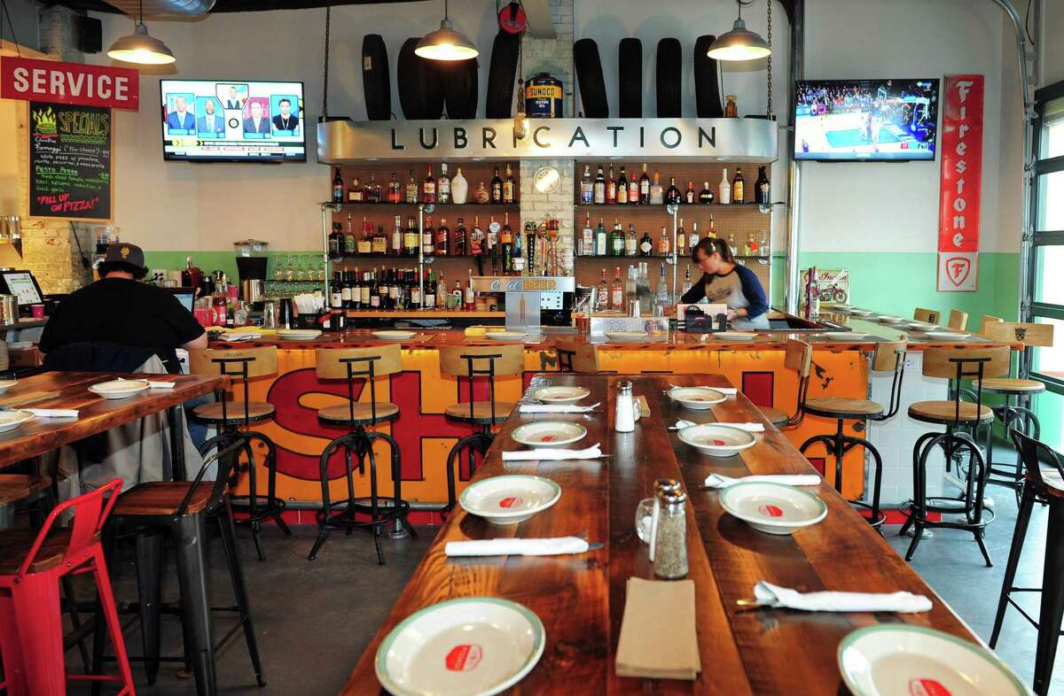 Pizzaco, a new pizza restaurant along Stratford Avenue in Stratford. The building was converted from a car repair shop and before that a gas station and kept that theme inside and out.