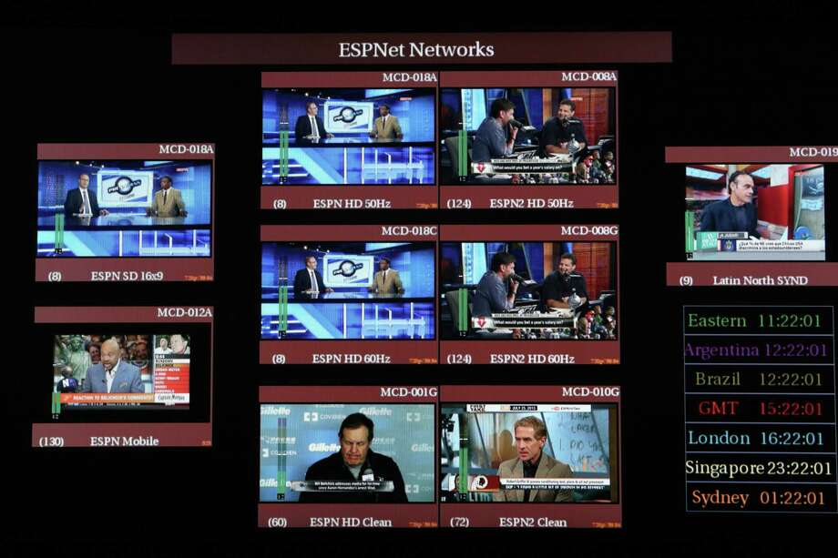 FILE -- A control room at ESPN headquarters in Bristol, Conn., July 25, 2013. ESPN on April 26, 2017, began another round of layoffs, this one aimed at on-air personalities, perhaps the starkest sign yet of the financial reckoning playing out in sports broadcasting as cord-cutting proliferates. (Richard Perry/The New York Times) Photo: RICHARD PERRY, STF / NYTNS