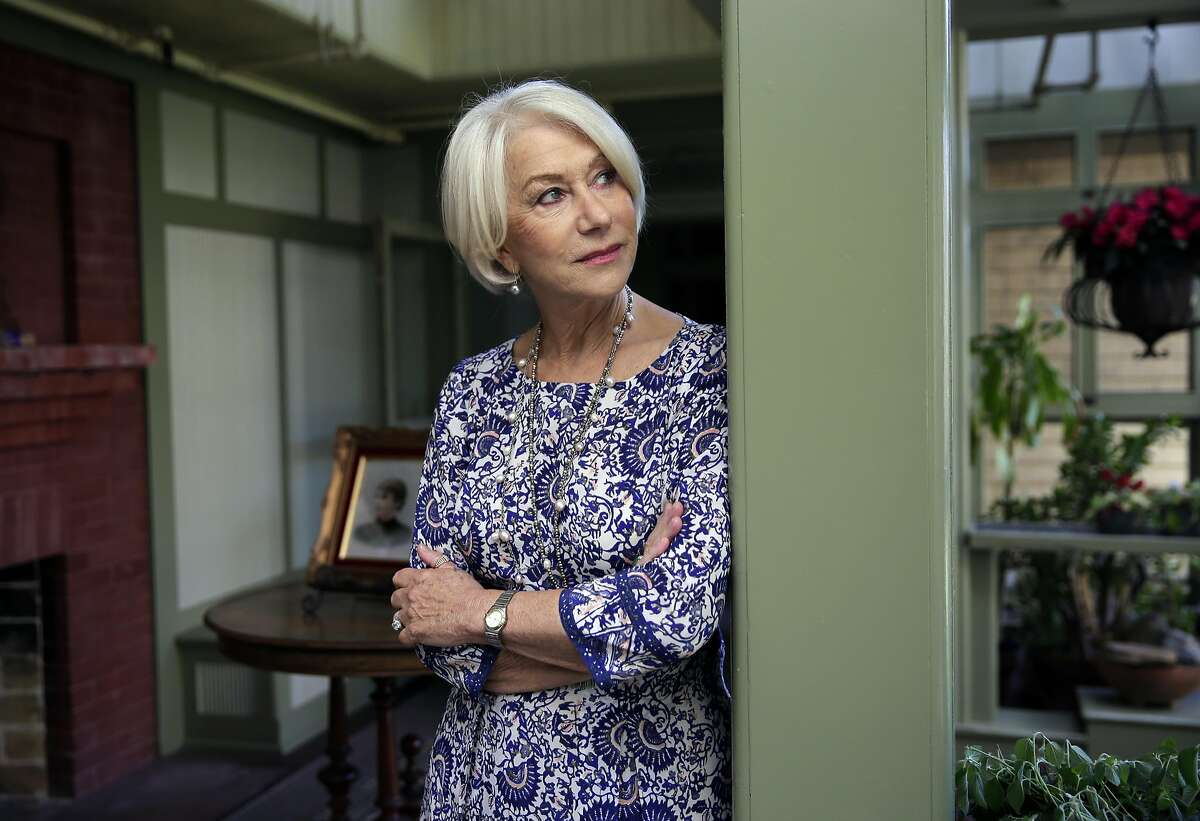 """Actress Helen Mirren, who plays Sarah Winchester, poses for a portrait in the South Conservatory of the Winchester Mystery House, where the filming of """"Winchester"""" is taking place, in San Jose, Ca., on Friday May 5, 2017."""