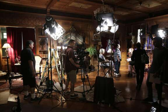 """Actress Helen Mirren conducts her interviews inside the inside the Grand Ballroom at the Winchester Mystery House, where the filming of """"Winchester"""" is taking place, in San Jose, Ca.,  on Friday May 5, 2017."""