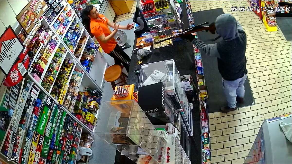 Stratford police are seeking the suspect who robbed the 24.7 Express on Barnum Avenue just after midnight May 5. Police believe it may have been the same person who robbed the store on April 30.