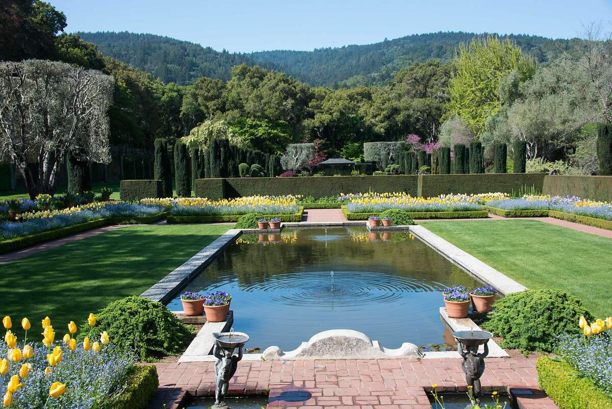 A garden to mountain view at Filoli in Woodside.