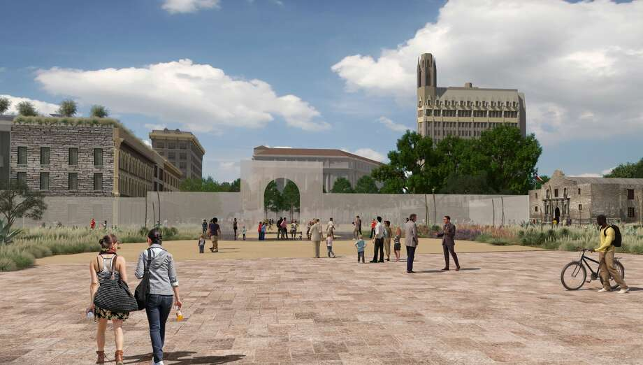 The architect envisions the closing of Alamo Street, creating a large public plaza and civic space. Photo: Preservation Design Partnership
