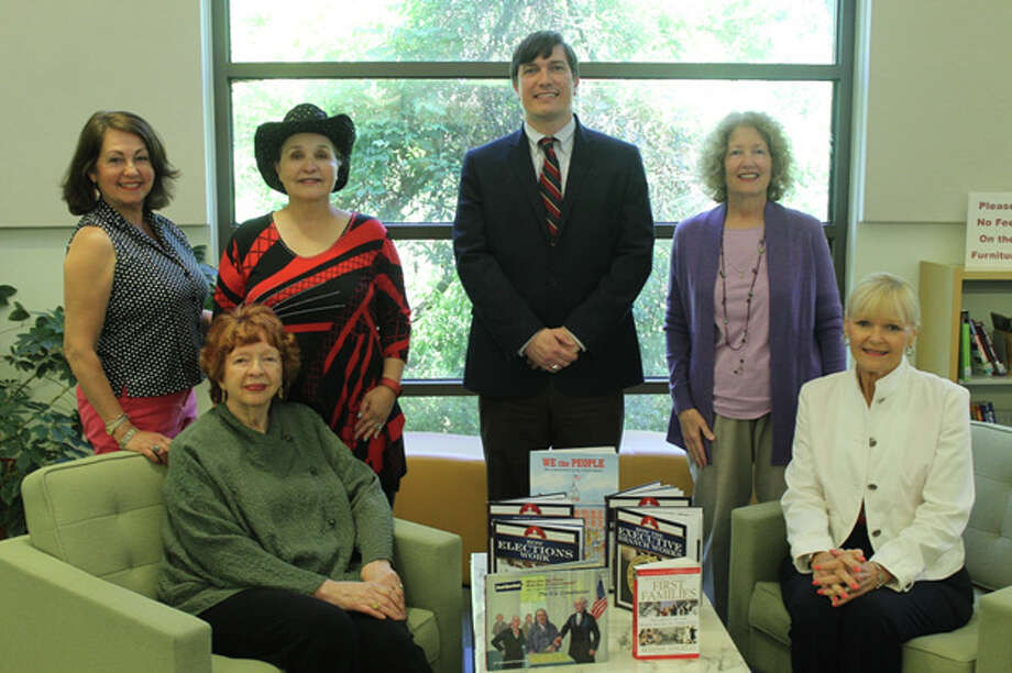 The Kingwood Area Republican Women donated eight books to the Kingwood Library in May.  From left to right: Terice Richards, Bette Newton, President Dr. Janie Branham, Ryan Fennell, Nancy Fulton, and Mardi Long. Photo: Courtesy Of The Kingwood Area Republican Women