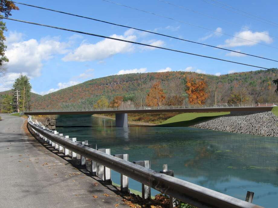 A rendering of the planned replacement for the Prattsville Bridge in Greene County, which was damaged in 2011 by Hurricane Irene. (New York State Department of Transportation)