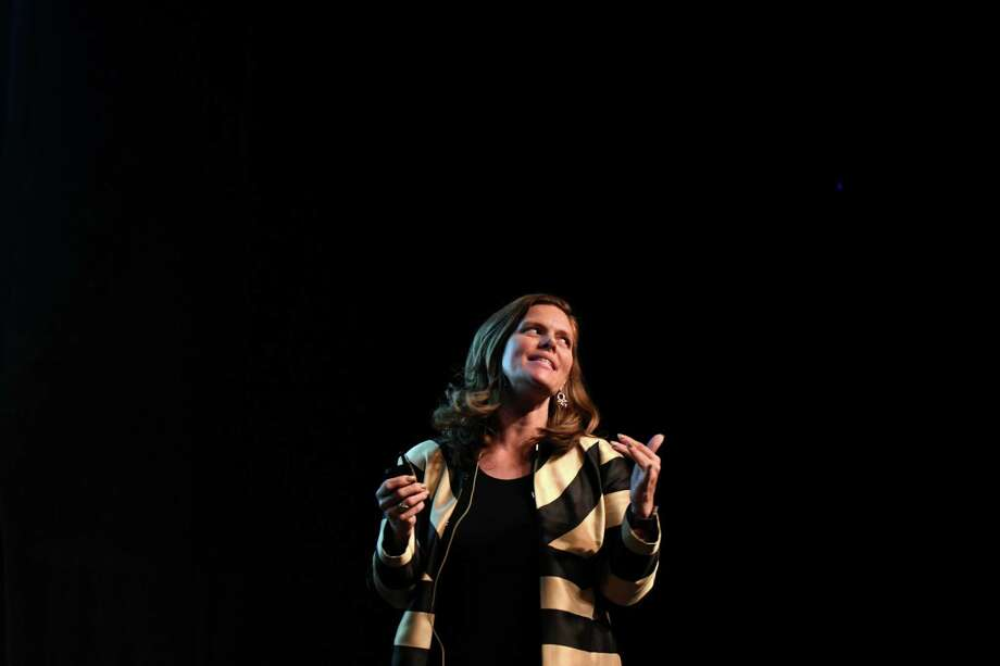 Allison Jackson speaks to specialists from a variety of scientific, psychological, social service and educational communities at the EGG, Center for the Performing Arts Hart Theatre, on Friday, May 5, 2017, in Albany, N.Y. The event focused on promising research on how, through understanding the emerging connections between trauma and the science of brain development, children can overcome the long-term consequences of extreme trauma and adversity. (Will Waldron/Times Union) Photo: Will Waldron / 20040435A