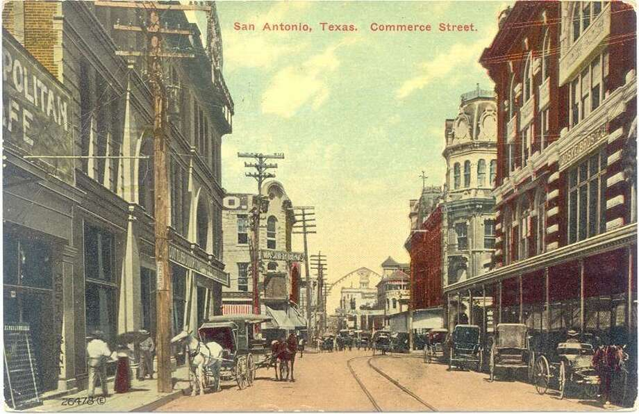 A postcard shows buggies in use in 1890 along Commerce Street in downtown San Antonio. Photo: Courtesy Texas Transportation Museum