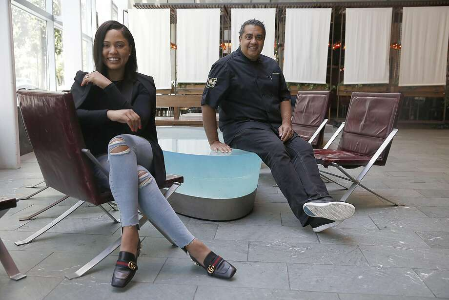 Ayesha Curry (left) partners with Michael Mina (right) on new restaurant called International Smoke which will replace RN74 seen on Thursday, May 4, 2017, in San Francisco, Calif. Photo: Liz Hafalia, The Chronicle