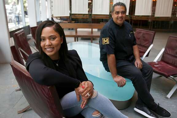 Ayesha Curry (left) partners with Michael Mina (right) on new restaurant called International Smoke which will replace RN74 seen on Thursday, May 4, 2017, in San Francisco, Calif.