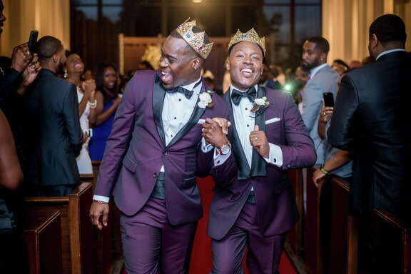 Adrian Homer, left, and Harrison Guy tied the knot at the University of Houston's A.D. Bruce Religion Center and held their reception at the Ensemble Theatre on April 15.
