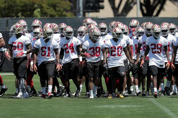 49er roster rookies and try-out rookies  during the San Francisco 49ers rookie mini-camp at their practice facility near Levi's Stadium in Santa Clara, Ca.,  on Friday May 5, 2017.