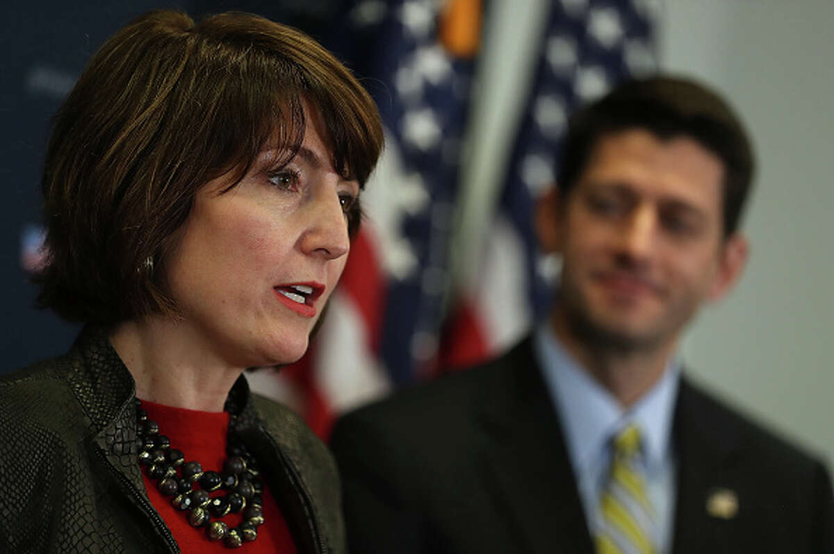 Rep. Cathy McMorris Rodgers, R-Wash., endangered Republican incumbent, gets $2,000 from Trump reelection campaign.  She is a member of the House Republican leadership, pictured with House Speaker Paul Ryan.