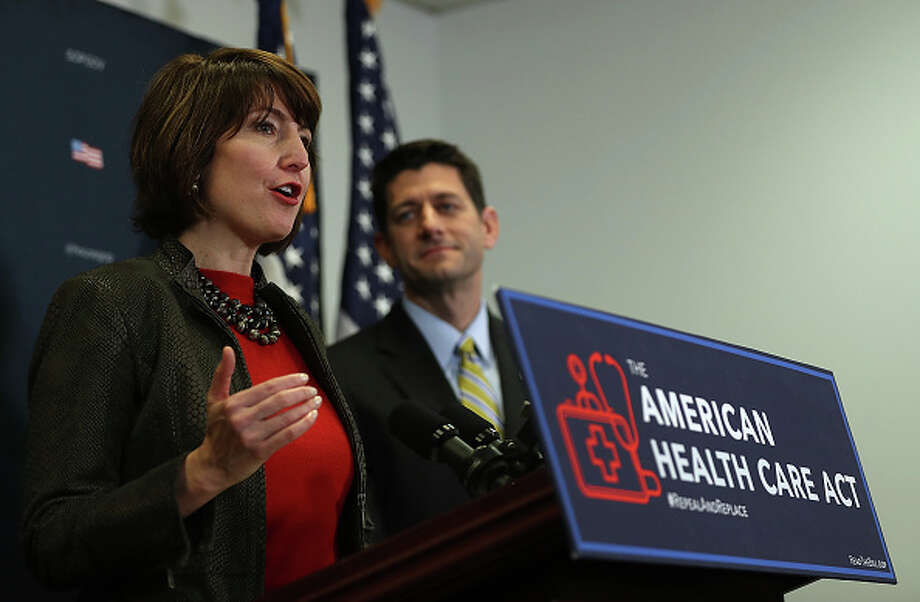Rep. Cathy McMorris Rodgers, R-Wash. a member of the House Republican leadership, is the public face of Trump administration policies in this Washington.  She is pictured here with House Speaker Paul Ryan. Photo: Justin Sullivan/Getty Images / 2017 Getty Images