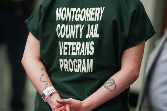 The dark green uniform of inmates in Montgomery County Jail's Pod 7 Veterans Program is pictured on Monday, May 1, 2017.