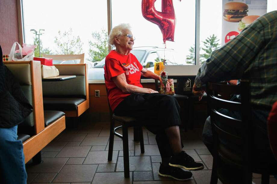 Loraine Maurerchats visits with customers at the N. Green River McDonald's location in Evansville, Ind., where a celebration was held in recognition of her more than four decades of work at local McDonald's restaurants. In April, 19 percent of Americans age 65 and over were still working, according to government data. The last time the percentage was this high was when John F. Kennedy was in the White House. Photo: Alex Slitz /Associated Press / Evansville Courier & Press