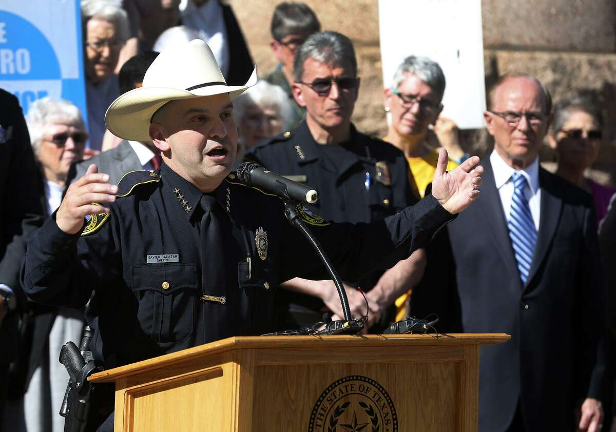 """Bexar County Sheriff Javier Salazar speaks out against Senate Bill 4 Friday May 5, 2017 in front of the Bexar County courthouse. Salazar and other public leaders such as San Antonio police chief William McManus, Judge Nelson Wolff and Senator Jose Menendez were on hand to voice their disapproval of the bill. The bill would allow police to ask the immigration status of anyone detained and started out as a means to punish so-called """"sanctuary cities."""" """"We are marginalizing a segment of our population,"""" Salazar said."""