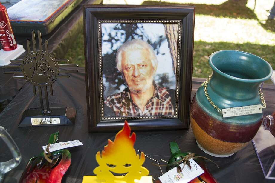 A portrait of Richard Dan Edmonson is present at all chili competitions the Chili Con Carnies participate in. The sisters cook for their father Dan Edmonson, who qualified for the Terlingua International Chili Championship but was killed in 1983before he could attend. Photo: Alma E. Hernandez / For The Express-News
