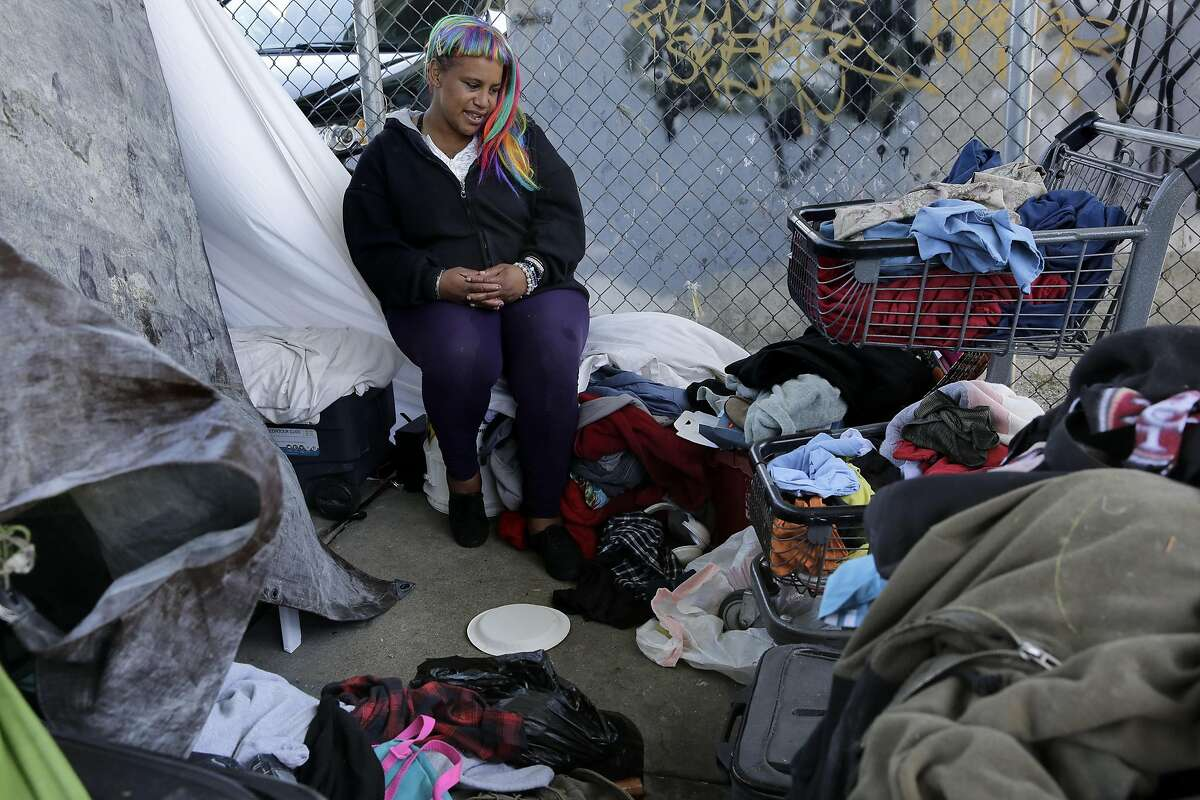 Shy Brown who has been homeless for seven years at her encampment along Alameda St. on Thursday May 4, 2017, in San Francisco, Ca.