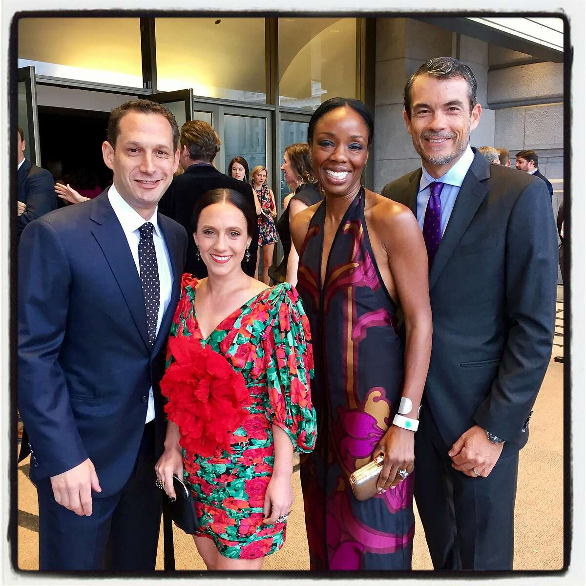 Tipping Point founder-CEO Daniel Lurie and his wife, Becca Prowda (left) with Dr. Nadine Burke and her husband, Arno Harris, at Bill Graham Civic Auditorium. May 4, 2017.