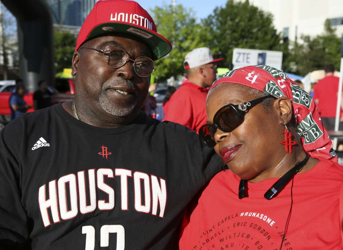 Houston Rockets fans pose for a photo before the NBA Conference Semifinals Game 3 between Houston Rockets and San Antonio Spurs at Toyota Center Friday, May 5, 2017, in Houston. ( Yi-Chin Lee / Houston Chronicle )