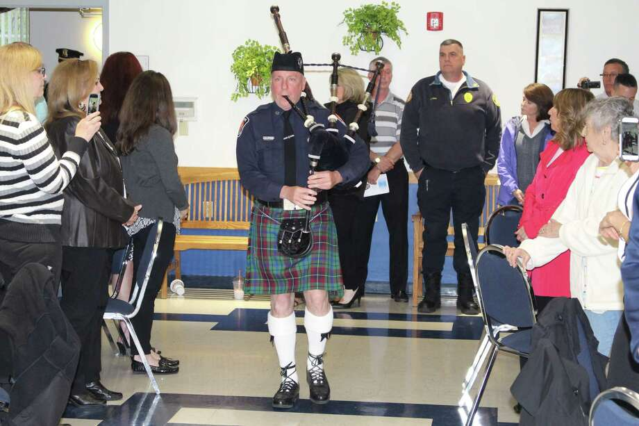 Bagpiper  DARE Officer Patrick Germaine opens the Colonie Police Department Awards Night on May 4, 2017. (Colonie Police photo)