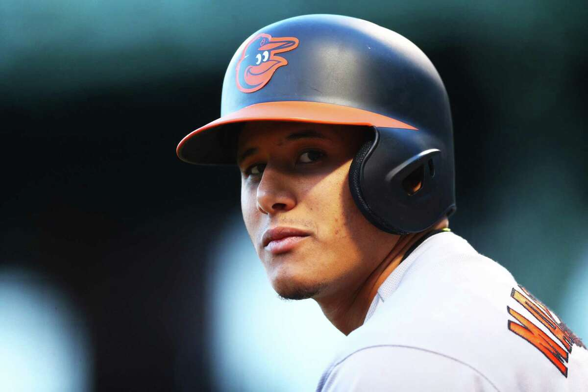 BOSTON, MA - MAY 3: Manny Machado #13 of the Baltimore Orioles looks on from the on deck circle during the first inning against the Boston Red Sox at Fenway Park on May 3, 2017 in Boston, Massachusetts. (Photo by Maddie Meyer/Getty Images) ORG XMIT: 700010637