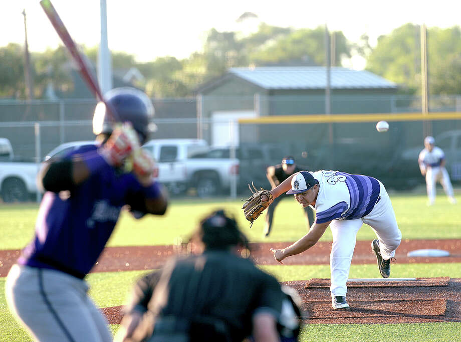 Port Neches - Groves' Josh Hranicky fires off pitch from the mound while opening for the Indians during their first of three play-off match-up with Humble at home Friday. Photo taken Friday, May 5, 2017 Kim Brent/The Enterprise Photo: Kim Brent / BEN