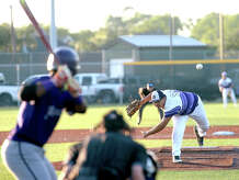 Port Neches - Groves' Josh Hranicky fires off pitch from the mound while opening for the Indians during their first of three play-off match-up with Humble at home Friday. Photo taken Friday, May 5, 2017 Kim Brent/The Enterprise