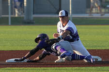 Port Neches - Groves' Logan LeJeune tags Humbles' Tyrese Clayborne for the out at second base during their first of three play-off match-up with Humble at home Friday. Photo taken Friday, May 5, 2017 Kim Brent/The Enterprise