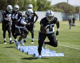 Oakland Raiders linebacker Marquel Lee (55) runs a drill during NFL football rookie minicamp, Friday, May 5, 2017, at Raiders headquarters in Alameda, Calif. (AP Photo/D. Ross Cameron)